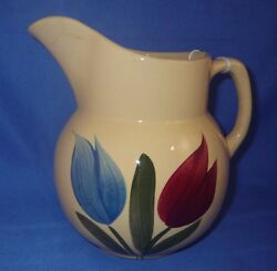 Vintage Watt Pottery Blue And Red Tulip 16 Pitcher