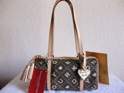 New With Tags Authentic Dooney & Bourke Crossword Barrel Coffee Purse Bag