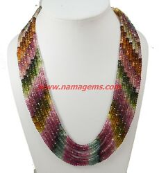 Watermelon Multi Tourmaline 4-5mm Faceted Rondelle Beaded Jewelry Necklace