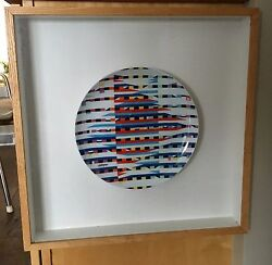 Agam Ceramic Plate Limited Edition Under Glass In Wooden Frame Excellent Israel