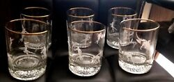 Set Of 6 Olympic Torch Winter Sports Whisky Low Ball Tumbler H2o Glasses Etched