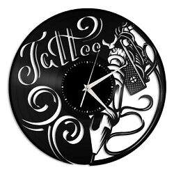 Tattoo Vinyl Wall Clock Record Unique Gift for Friends Home and Room Decoration