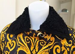 Gianni Versace Gold And Black Baroque Printed Silk Raincoat With Astrakhan