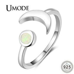 UMODE 925 Sterling Silver Moon 2mm Opal Adjustable Ring {}