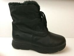 Totes Boots Womens 7 M Black Winter Boots Ankle Shoes Faux Fur Lining Snow Laces $39.99