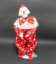Vintage 1985 Enesco Porcelain Clown Doll On Stand 15 Inch