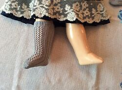 Antique Pattern Grey Color Cotton Socks For Antique French German Doll