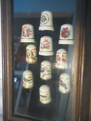 Framed 10 Collectible Porcelain Thimbles, 6 Franklin Signed Bird Thimbles