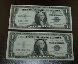 Lot Of 2 Crisp Uncirculated 1935e Silver Certificate Banknotes