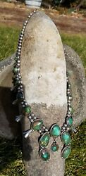 Old Squash Blossom Necklace Navajo Royston Turquoise Sterling Silver 240 Grams