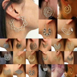 Boho Women Jewelry Holiday Gypsy Tribal Ethnic Mandala Hollow Hoop Earrings Gift $2.99