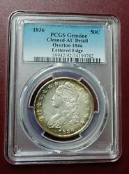 1836 Bust Half Dollar Lettered Edge O-104a Pcgs Au Detail Cleaned