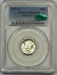 1937-s Pcgs Ms-67 Fb Cac Mercury Dime Double Die Obverse Frosty White Superb