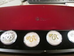 2013 Australia Year Of The Snake 4 Coin Set Perth Mint In Case 1oz .999 Silver