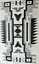 Antique Navajo Rug Two Grey Hills Native American Storm Pattern Tapestry 1920