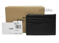 New COACH F66550 Men's Multiway Zip Leather Card Case Wallet QBBlack GIFT BOX $36.95