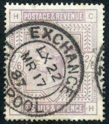 1883 2/6d Lilac On Blued Paper Wmk Large Anchor. S.g. 175.