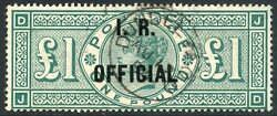 1892 Andpound1 Green I.r. Official Used. S.g. 016.