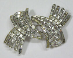 Vtg Jewelry Corocraft Brooch Baguettes Navettes In Silvertone Lovely 1960s