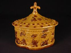 Very Rare 1800s Floral Covered Bowl Rockingham Spatter Glaze Yellow Ware Mint