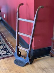 Vintage Industrial Hand Truck Varnished Wood With Cast Iron Wheels And Base