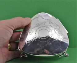 Antique Sterling Silver Heart Trinket Box Swag Design Large R.p And S Ltd 1920