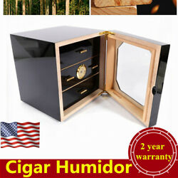 Piano Finish Cedar Lined Cigar Cabinet Humidor 3 Drawers For 50-75 Cigars Usa