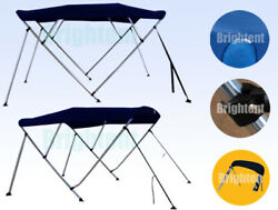 Boat Bimini Top 3 Bow 4 Bow Navy Blue Canopy Cover 6ft 8ft Long Freee Clips $115.99