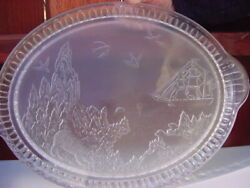 Antique Eapg Frosted Polar Bear Large Glass Tray