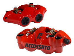 Accossato Radial Brake Caliper Set Forged W/ Zxc Carbon Race Pads 108mm Red Body