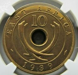 East Africa 10 Cents 1939-kn Ngc Sp 65 Rb. Rare And Choice Specimen