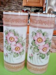 Rare Vintage Hand Painted Pair Floral Milk Glass Vases Deluxe Inc Usa Signed