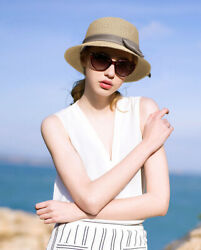 Womens Floppy Summer Sun Beach Straw Hat UPF 50 Foldable Wide Brim Cap $7.99