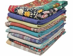Floral Design Handmade Quilt Reversible Cotton Quilt Blanket Indian Sari Quilt