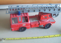 German West Or East Ddr Tin Plastic Friction Larger Fire Ladder Truck 1970s