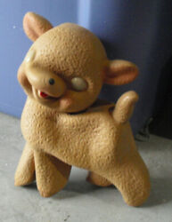 Vintage 1950s Rubber Rempel Lamb Squeeky Toy 5 Tall