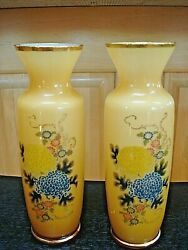 Pair Antique Bristol Amber Cased Art Glass Gold Gilt Hand Painted Flower Vase