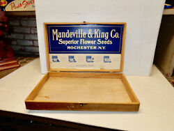 Antique Wooden Seed Display Box Mandeville And King Rochester Ny