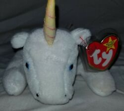 Valuable Ty Beanie Babies Mystic The Unicorn Iridescent Horn W Tag Protector.