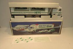 1997 Hess Truck With 2 Racers Mib Collectible Toy Car Gas Station Promo