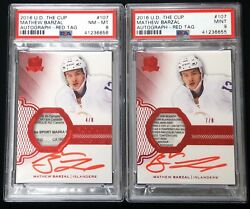 2016 UD The Cup Rookie Red Tags Mathew Barzal AUTO PATCH TAG RC /8 PSA 9 2 Lot