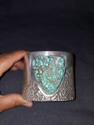 Native Sterling Silver Cuff Bracelet With Huge Turquoise Vintage 455g Hand Made