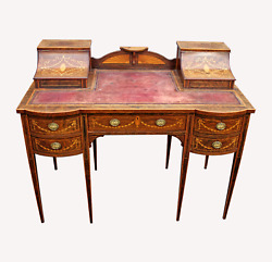 A Lovely English Rosewood And Satinwood Marquetry Inlaid Writing Desk