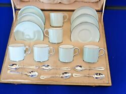 Crown Derby Art Deco Cased Set Of Six Coffee Cans Saucers And 6 Silver Spoons