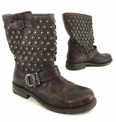 Frye Womens Jenna Short Disc Biker Boots Dark Brown Distressed Leather Size 6