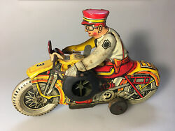 1938 Marx Tin Toy Wind-up Police Motorcycle Siren, Worksgreat