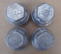 Nos 1922 1927 Chevy Hub Caps Bow Tie Script Original Aluminum Set Of 4 Hubcaps