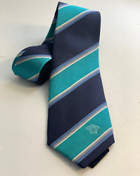 Nwt Authentic Versace Blue And Green Striped 100 Silk Tie