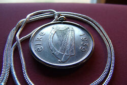 1939 Irish Horse Crown Pendant On An 18k 24 White Gold Filled 2mm Snake Chain