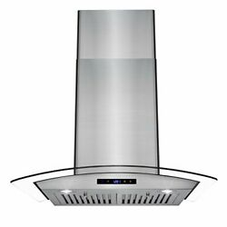 Glass Kitchen Cooking Vent Fan Range Hood W/ Led Display Touch Control Panel 30